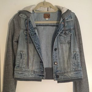 American Eagle Denim and Cotton Hooded Jacket